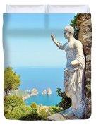 Faraglioni Rocks From Mt Solaro Capri Duvet Cover
