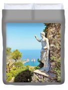 Faraglioni Rocks From Mt Solaro Capri Duvet Cover