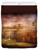 Farm - Barn - Shaker Barn  Duvet Cover by Mike Savad