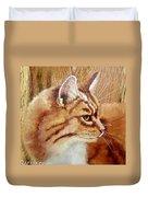 Farm Cat On Rustic Wood Duvet Cover