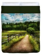 Farm - Fence - Every Journey Starts With A Path  Duvet Cover