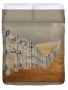 Farm Fence On Foggy Autumn Day Duvet Cover