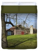 Farm Scene With Barns And Silo Duvet Cover