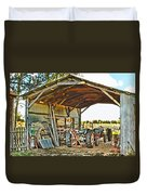 Farm Shed Digital Watercolor Duvet Cover
