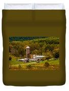 Farm View With Mountains Landscape Duvet Cover