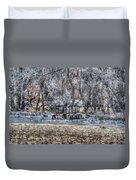 Farm Wagon Sitting In The Snow Duvet Cover