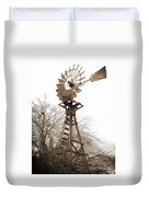 Farm Windmill In Sepia Duvet Cover