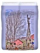 Farm - Windmill - Red Barn Farm - Missouri Duvet Cover