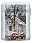 Farmall Tractor In Winter Duvet Cover