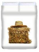 Farmer Hat On Hay Bale Duvet Cover