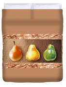 Farmers Market Drive Through Red Yellow And Green Pear Duvet Cover
