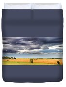 Farmhouse In The Storm Panorama Duvet Cover
