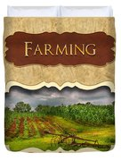 Farming And Country Life Button Duvet Cover