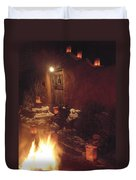 Farolitos And Luminaria Near Door Duvet Cover