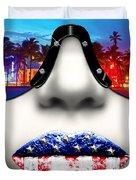 Fashionista Miami Silver Duvet Cover