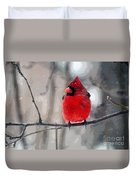 Fat Cardinal In The Snow Duvet Cover