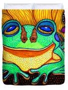 Fat Green Frog On A Sunflower Duvet Cover
