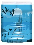 Father And Son Fishing Duvet Cover