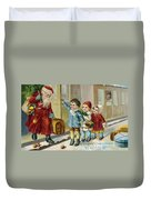 Father Christmas Disembarking Train Duvet Cover by Mary Evans