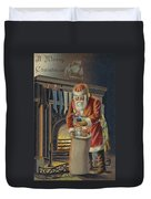 Father Christmas Filling Children's Stockings Duvet Cover