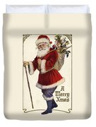 Father Christmas With A Bag Of Toys Duvet Cover