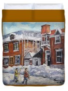 Faubourg A Melasse Montreal - Joys Of Winter By Prankearts Duvet Cover