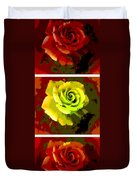 Fauvism Roses Triptych Duvet Cover