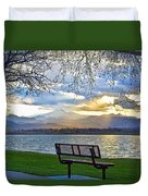 Favorite Bench And Lake View Duvet Cover