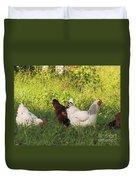 Feeding Chickens Duvet Cover