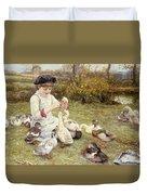 Feeding Ducks Duvet Cover