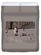 Feeding Pigeons In Santiago De Compostela Duvet Cover by Mary Machare