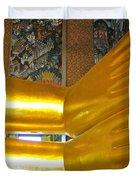 Feet Of Reclining Buddha In Wat Po In Bangkok-thailand Duvet Cover