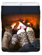 Feet Warming By Fireplace Duvet Cover