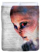 Female Alien Portrait Duvet Cover