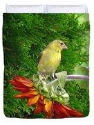 Female American Goldfinch Duvet Cover