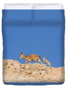 female and young Nubian Ibex Duvet Cover