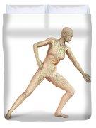 Female Body In Dynamic Posture Duvet Cover