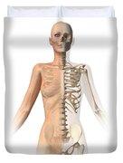 Female Body With Bone Skeleton Duvet Cover