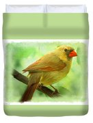 Female Cardinal In Elm Tree - Digital Paint Duvet Cover