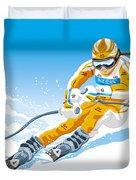 Female Downhill Skier Winter Sport Duvet Cover by Frank Ramspott