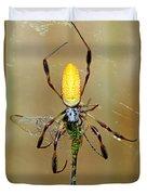 Female Golden Silk Spider Eating Duvet Cover
