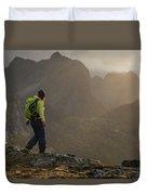 Female Hiker On Summit Of Tverrfjellet Duvet Cover