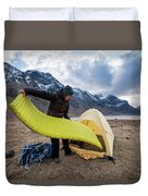 Female Hiker Sets Up Tent On Wild Duvet Cover
