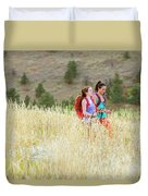 Female Hikers Walk On A Trail Duvet Cover