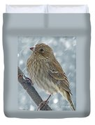 Female House Finch In Snow 1 Duvet Cover