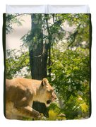 Female Lion On The Move Duvet Cover