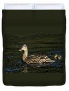 Female Mallard And Duckling Duvet Cover