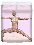 Female Musculature Performing Warrior Duvet Cover