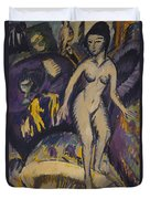 Female Nude With Hot Tub Duvet Cover by Ernst Ludwig Kirchner