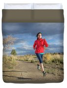 Female Runner In Colorado Duvet Cover